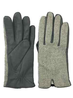 Womens Gray Houndstooth & Leather Gloves Fleece Lined Small/Medium