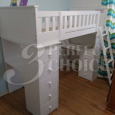 Willoughby Youth Kids White Solid Wood Twin Loft Bed Storage Workstation Cabinet