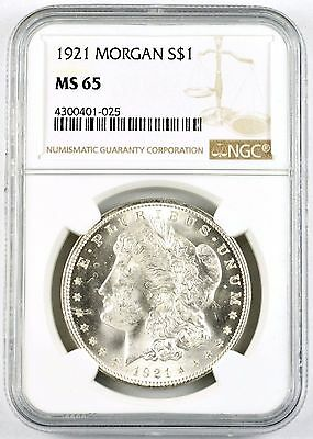 1921 $1 United States Morgan .900 Silver Dollar Coin - Official NGC Graded MS-65