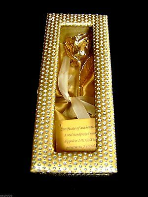 "BIRTHDAY GIFT 24K Gold Dipped 6"" Real Rose in Gold Egyptian Casket Design Box"