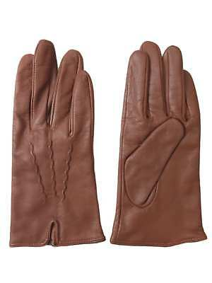 Womens Caramel Brown Stitched Leather Gloves Acrylic Lined