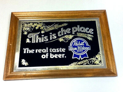Pabst Blue Ribbon beer sign wall mirror graphic vintage real taste PBR bar mh7