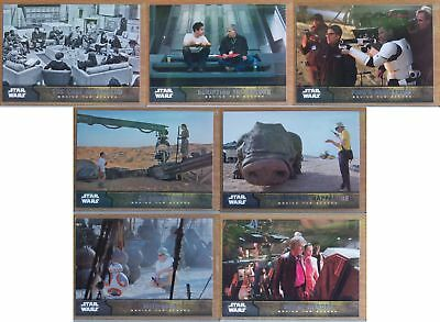 Topps Star Wars The Force Awakens Behind the Scenes 7 card insert set. Series 1