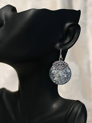 Pair of Round Roman Glass Earrings, Settings Beaded Sterling Silver .925 NWT