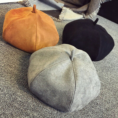 Beret Caps British Fashionable Suede Painter Pumpkin Octagonal Style Women Hat