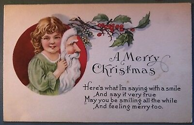 ~Unusual~Child with SANTA CLAUS Mask Antique Christmas Postcard-a423