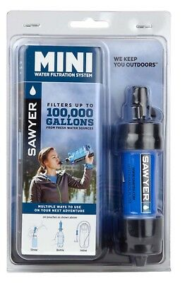 NIB Sawyer Blue/Black Portable Mini Water  Filtration System SP128 100,000 Gal.