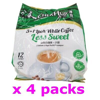 Chek Hup Malaysia 3 in 1 Instant Premix White Coffee Less Sweet Healthy (4 pack)