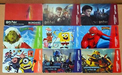 9 Universal/borders No $ Cash Value Gift Cards~Grinch-Spongebob-Potter-Spiderman