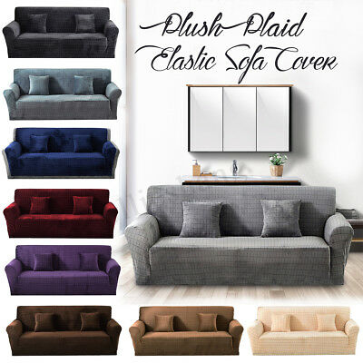 1 2 3 4 Plush Plaid Sofa Cover Stretch Elastic  Sectional/Corner Couch
