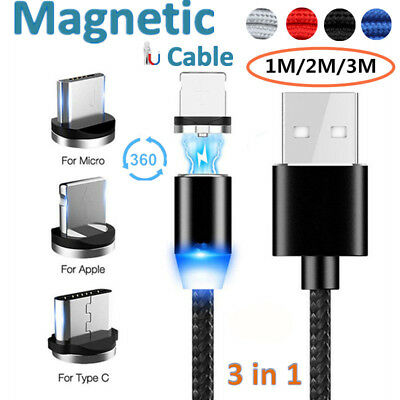 Magnetic Micro USB Type-C IOS Fast Charger Data Cable For iPhone Apple Samsung