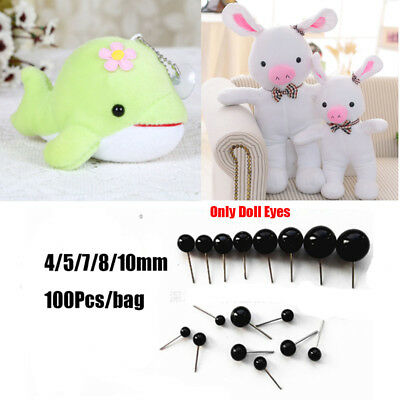 100Pcs Black Glass Eyes Needle Felting For Bears Animals Dolls 4/5/7/8/10mm UK~~