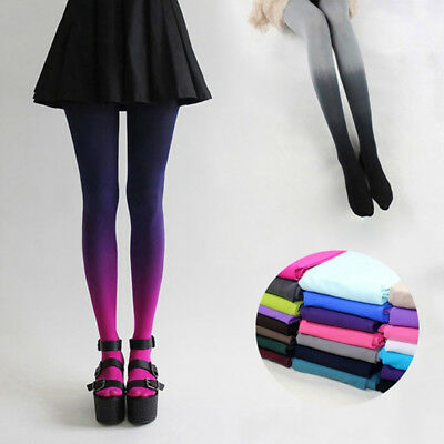Women Gradient Tights Stocking Stretch Pantyhose Girls Wear Club Casual Party