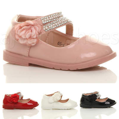 Girls Kids Childrens Flat Gem Flower Strap Bridesmaid Party Formal Shoes Size