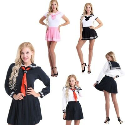 School Girls Japanese Sailor Suit Uniform Dress Costumes Mini Skirt Fancy Dress