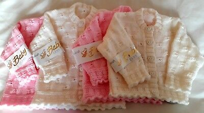 Hand Knitted Baby Girls Pink Or Cream Cardigan To Fit From Birth Or From 3 Month