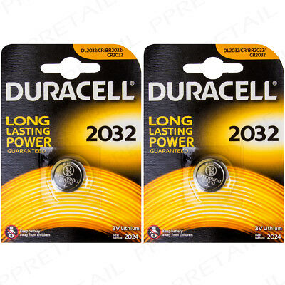2 x DURACELL 2032 3V Coin Cell Batteries Lithium DL/CR Watch Button Battery Long