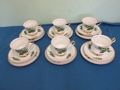 Lubern Bone China Tea Cup,Tea Plate,Saucer Trio's, Lily of the Valley 22kt Gold