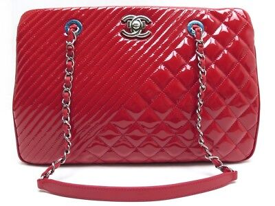 7f10bf0ad6bb Neuf Sac A Main Chanel Shopping Gm Cuir Chevron Matelasse Vernis Rouge Bag  3950€