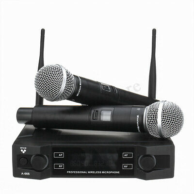 Professional UHF Wireless Microphone System 2 Channel + Dual Handheld Mic Party