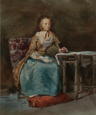 Lady Reading 'Pheney' - Signed 19th Century Victorian Portrait Watercolour 1857