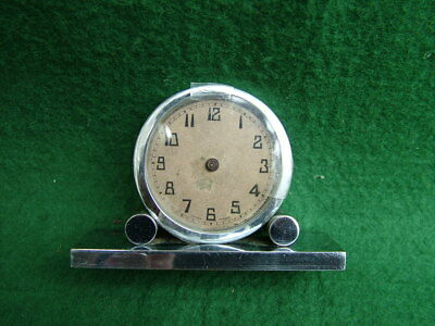 1930'S ART DECO SOLID CHROME TRAVELLING or BEDSIDE WORKING SWISS MOVEMENT SOLD a