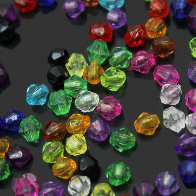 Fashion Charm Bicone Acrylic Beads Spacer 4mm Mixed Colors 200 Pcs Wholesale