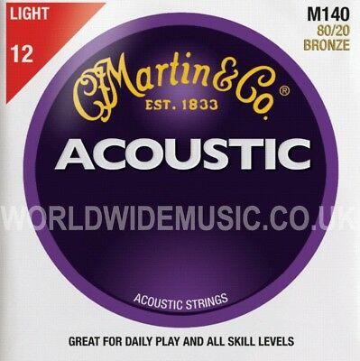 Martin M140 Acoustic Guitar Strings 80/20 Bronze Light Gauge .012 - .054
