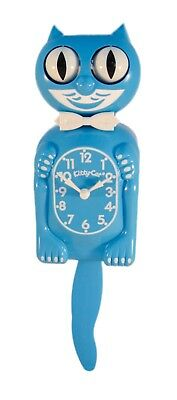 """Blue KITTY CAT CLOCK 12.75"""" Mini Free Battery LIMITED EDITION MADE IN USA"""