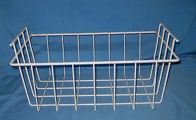 VTG Coated White WIRE BASKET W/HANDLES STORAGE LOCKER/Freezer Drawer 4 Flowers!