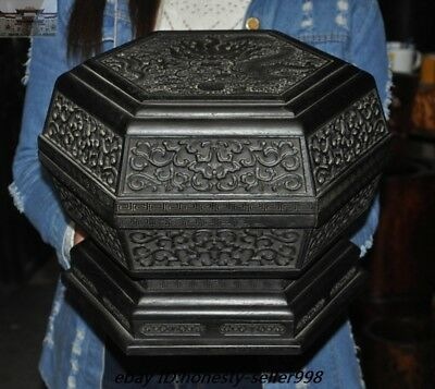 Old Chinese Palace Rosewood Wood Carved Dragon Totem storage boxes Treasure box