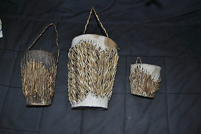 African Goat Skin Drums set of 3 Hand Carved from Kenya 1970s