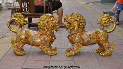 Chinese Fengshui Bronze Cloisonne Enamel Guardian Door lion Foo dog Beast Statue