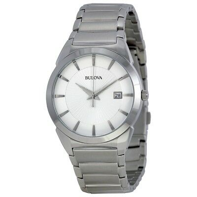 New Bulova Men's Stainless Steel White Dial with Tuning Fork Quartz Watch 96B015