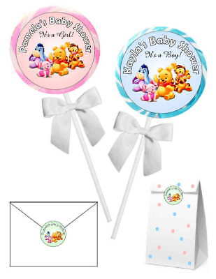 20 WINNIE THE POOH BABY SHOWER FAVORS STICKERS LABELS for lollipops, goody bags
