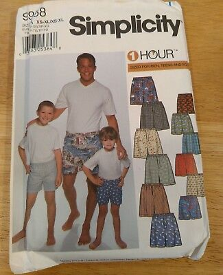 Simplicity 9958 Men's & Boy's Boxer Shorts Pattern - Size XS-XL