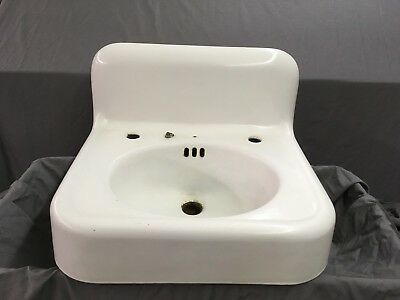 Antique High Back Cast Iron White Porcelain Wall Mount Bath Sink Vtg 639-18E
