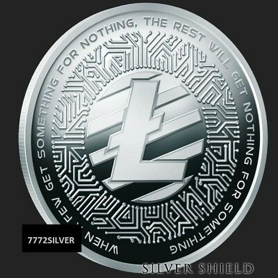 2018 1oz LITECOIN Proof CRYPTO #3  .999 AG SILVER SHIELD GROUP SSG 777 BULLET