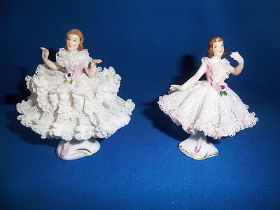 2 figurines danseuses porcelaine Saxe Dresden Germany