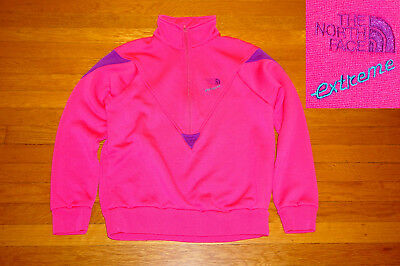 Vintage 80s The North Face EXTREME Pullover 1/2 ZIP HOT PINK PURPLE EC S/M wms