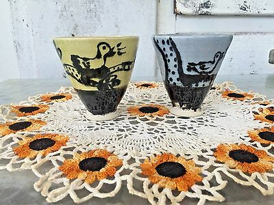 Set of 2 Hand Thrown Pottery Cups, Modern Folkart, Marked with Bird Design