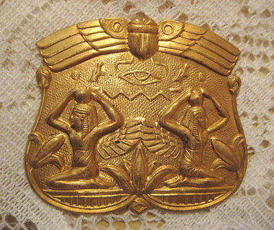 Vintage Egyptian Revival Medallion Plaque, Heavy Stamped Raw Brass Pin Topper