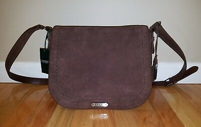 New Ralph Lauren Glennmore Larisa Brown Suede Handbag Saddle Bag Retail  278 093114bdf83b8