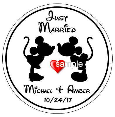 Mickey And Minnie Disney Wedding Favors Round Stickers Labels For Your