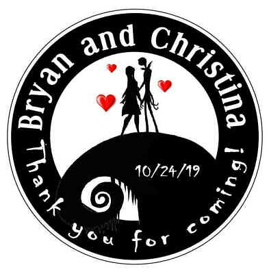 Nightmare Before Christmas Wedding Favors Round Stickers Labels For