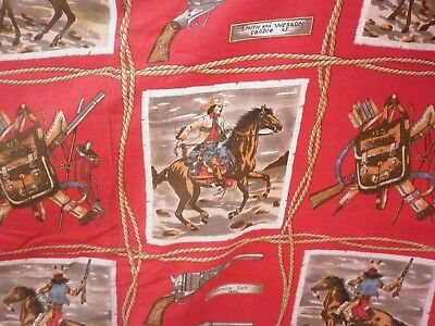Vintage Red US Pony Express Wild West Barkcloth Curtain Fabric 112 cm x 170 cm