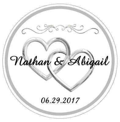 Silver Hearts Wedding Favors Bridal Shower Tags Stickers Labels For Your Favors