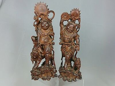 Antique Chinese 19th Century Qing Dynasty Carved Hardwood  HeHe Twins Figure x2