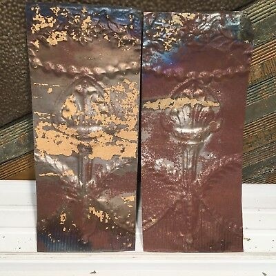 """2pc 20"""" x 9"""" Torch Antique Ceiling Tin Vintage Reclaimed Salvage Art Craft"""