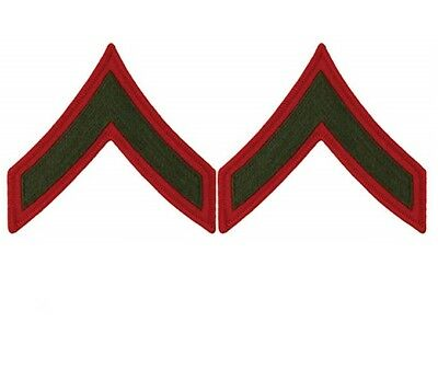USMC Marine Corps Chevrons Green on Red E-2 Private First Class PFC MALE